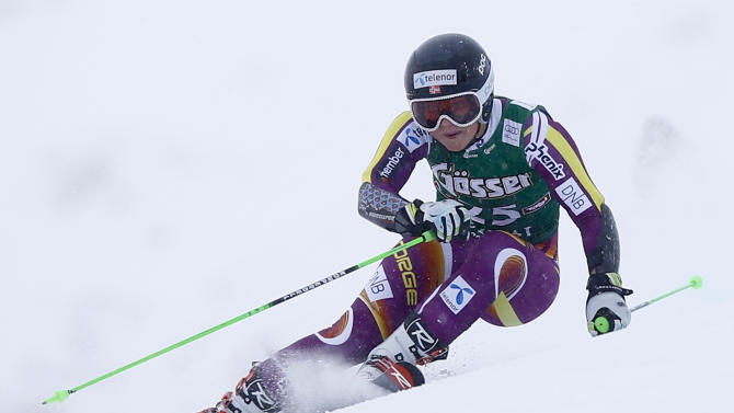 Mowinckel from Norway clears a gate during the first run of the World Cup Women's Giant Slalom race in Kuehtai ski resort