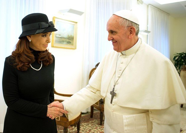 Pope Francis meets Argentine president Cristina Fernandez at the Vatican (L&#39;Osservatore Romano/AP)