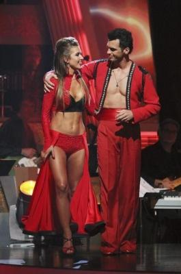 "Audrina Patridge and Tony Dovolani exchange a knowing glance as they prepare to learn their fate on ""Dancing with the Stars,"" Oct. 26, 2010 -- ABC"