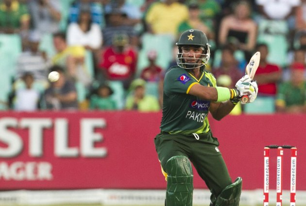Pakistan's Farhat plays a shot during their fourth One Day International cricket match against South Africa in Durban