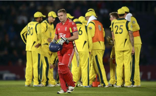 England's Luke Wright leaves the field after being dismissed during the fifth one-day international against Australia at the Rose Bowl in Southampton