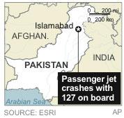 Map locates plane crash near Islamabad, Pakistan