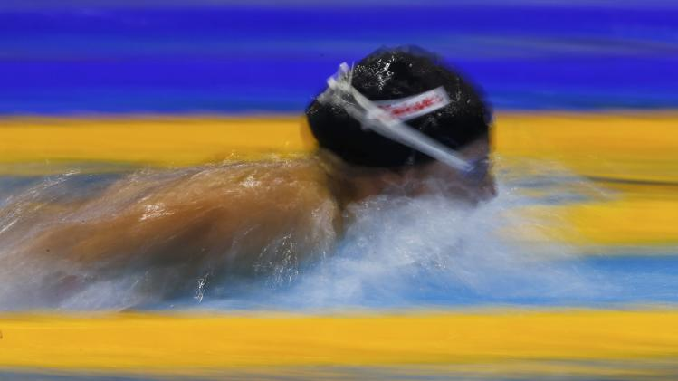 Hosszu of Hungary swims in the women's 200m butterfly heats at the European Swimming Championships in Berlin