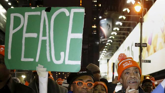 "Reverend Al Sharpton and Spike Lee march to Times Square after the premiere of ""Chi-Raq"" in New York"