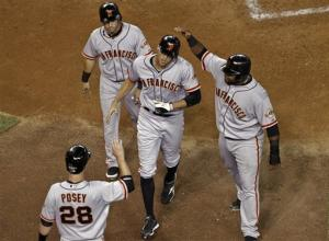 Pence's slam helps Giants beat Diamondbacks 6-2