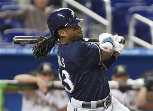 Weeks hits 2 homers to lead Brewers over Marlins