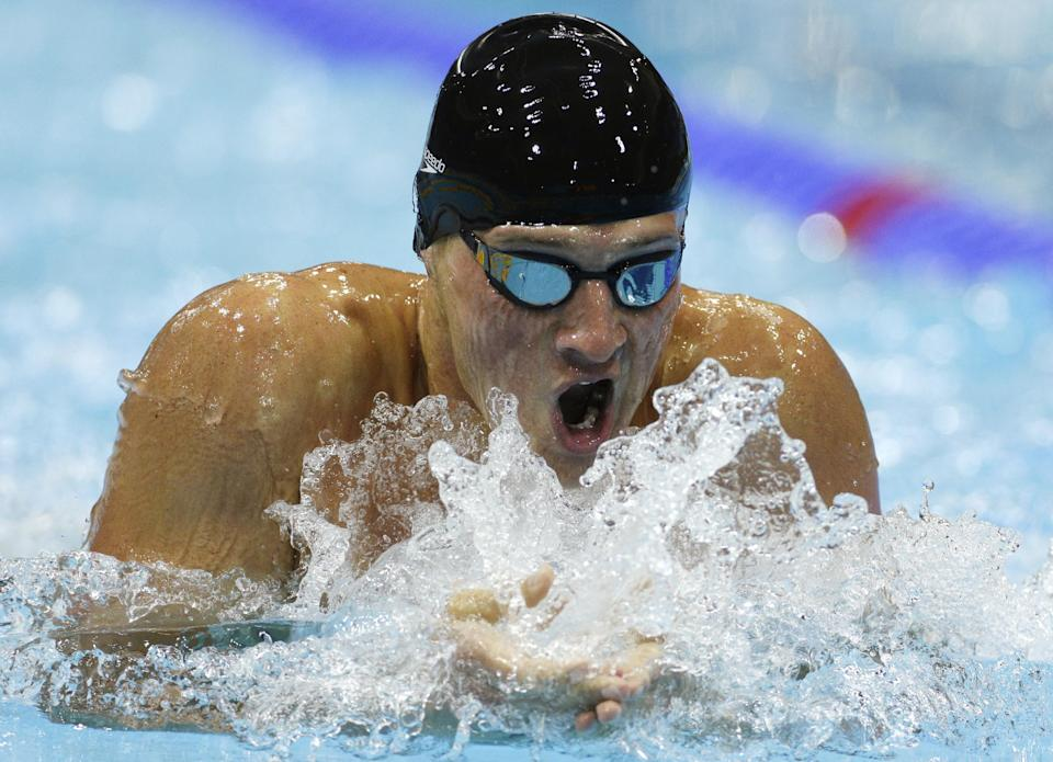 United States' Ryan Lochte swims to win the men's 400-meter individual medley swimming final at the Aquatics Centre in the Olympic Park during the 2012 Summer Olympics in London, Saturday, July 28, 2012. (AP Photo/Michael Sohn)