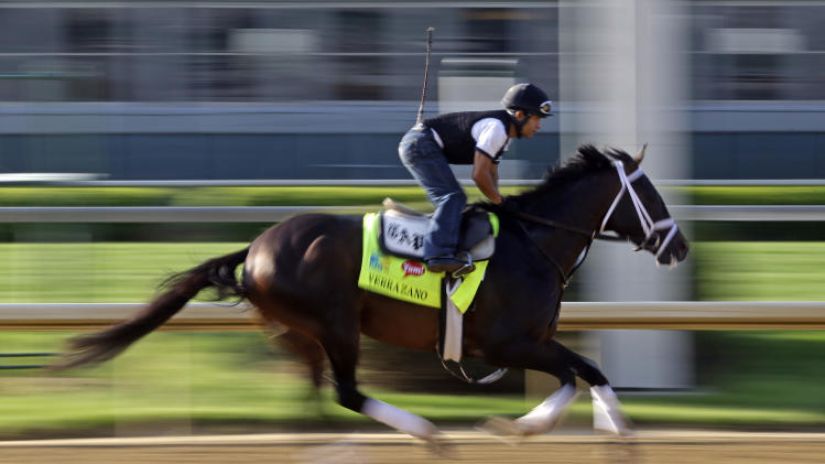 Exercise rider Humberto Zamora rides Kentucky Derby hopeful Verrazano for a workout at Churchill Downs Wednesday, May 1, 2013, in Louisville, Ky. (AP Photo/Morry Gash)