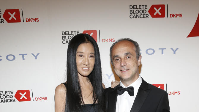 IMAGE DISTRIBUTED FOR COTY - Coty Inc. CEO Michele Scannavini,right, and Vera Wang walk the carpet at the seventh annual Delete Blood Cancer Gala, presented with support from founding corporate sponsor Coty Inc., at Cipriani Wall Street, Wednesday, May 1, 2013 in New York. The event raised $3.7 million to support the fight against leukemia and other blood-related cancers. (Photo by Jason DeCrow/Invision for Coty/AP Images)
