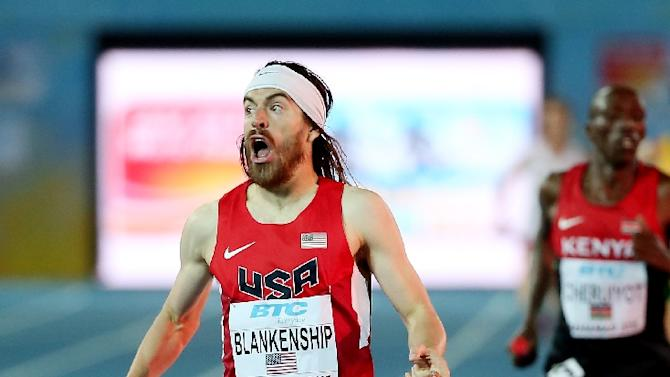 Ben Blankenship celebrates after winning the final of the men's distance medley relay on day two of the IAAF World Relays on May 3, 2015 in Nassau, Bahamas