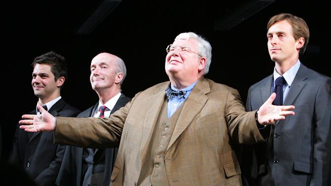 """FILE - From left, actors James Corden, Clive Merrison, Richard Griffiths and Stephen Campbell Moore take the curtain call at the opening night of the play The History Boys, in this Sunday, April 23, 2006 file photo in New York. Griffiths, the British actor who played the boy wizard's unsympathetic Uncle Vernon in the """"Harry Potter"""" movies,  has died . He was 65.  (AP Photo/Dima Gavrysh, file)"""