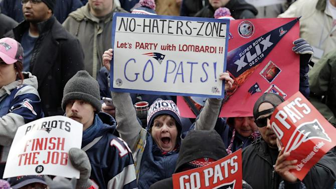 New England Patriots fans cheer before the start of an NFL football send-off rally at City Hall in Boston Monday, Jan. 26, 2015. The Patriots play the Seattle Seahawks in Sunday's Super Bowl XLIX in Glendale, Ariz