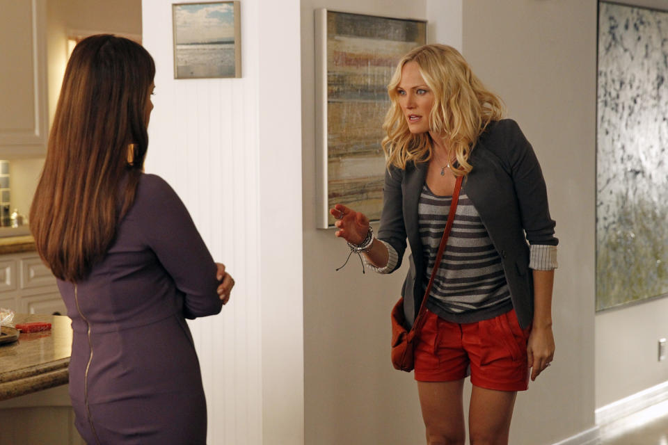 "This publicity image released by ABC shows Marcia Gay Harden, left, and Malin Akerman in a scene from ""Trophy Wife,"" premiering Tuesday Sept. 24 at 9:30 p.m. EST on ABC. (AP Photo/ABC, Peter ""Hopper"" Stone)"