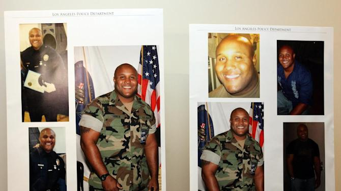 "This undated series of photos released by the Los Angeles Police Department shows suspect Christopher Dorner, a former Los Angeles officer.  Dorner, who was fired from the LAPD in 2008 for making false statements, is linked to a weekend killing in which one of the victims was the daughter of a former police captain who had represented him during the disciplinary hearing. Authorities believe Dorner opened fire early Thursday on police in cities east of Los Angeles, killing an officer and wounding another.  Police issued a statewide ""officer safety warning"" and police were sent to protect people named in the posting that was believed to be written by Dorner.  (AP Photo/Los Angeles Police Department)"