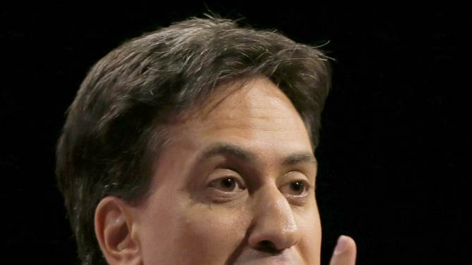The leader of Britain's opposition Labour Party, Ed Miliband, speaks at the party's annual conference in Manchester