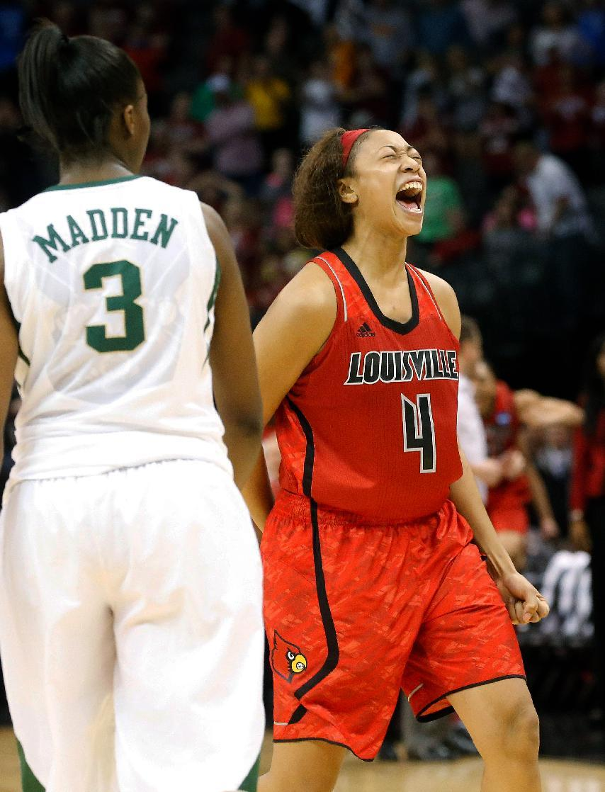 Louisville guard Antonita Slaughter (4) reacts to a call next to Baylor guard Jordan Madden (3) late in the second half of a regional semifinal game in the women's NCAA college basketball tournament in Oklahoma City, Sunday, March 31, 2013. Louisville won 82-81. (AP Photo/Sue Ogrocki)