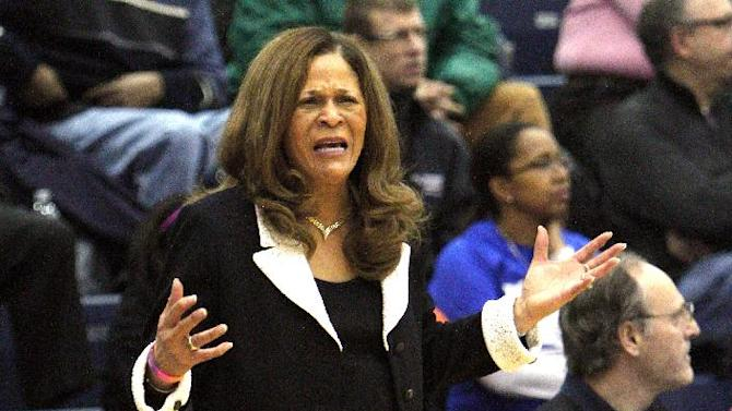 Rutgers head coach Vivian Stringer yells to her team during the first half of their NCAA college basketball game against DePaul in Chicago, Tuesday, Feb. 12, 2013. (AP Photo/Charles Cherney)