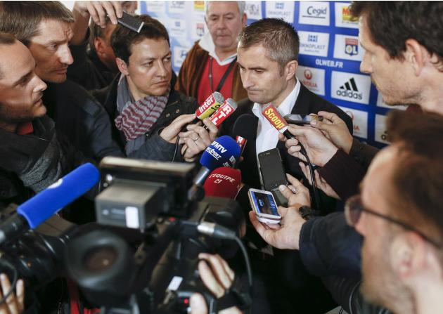 Referee Fautrel speaks to media after the French Ligue 1 soccer match between Olympique Lyon and Monaco at the Gerland stadium in Lyon