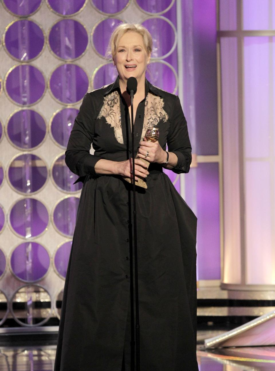 "In this image released by NBC, Meryl Streep accepts the award for Best Actress in a Motion Picture, Drama for ""The Iron Lady"" during the 69th Annual Golden Globe Awards on Sunday, Jan. 15, 2012 in Los Angeles. (AP Photo/NBC, Paul Drinkwater)"