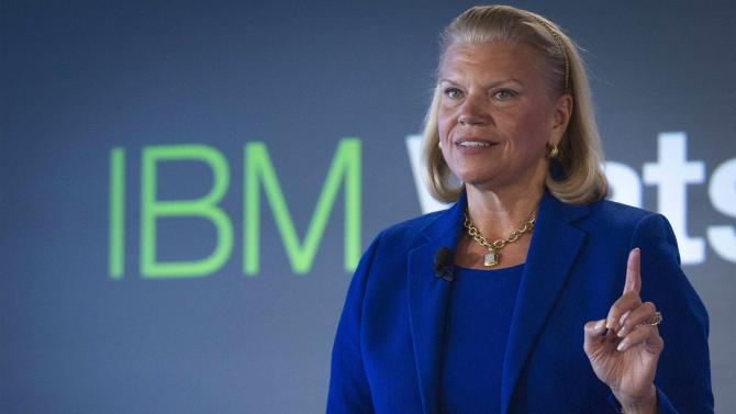File photo of IBM Chairwoman and CEO Rometty speaking at an IBM Watson event in lower Manhattan, New York