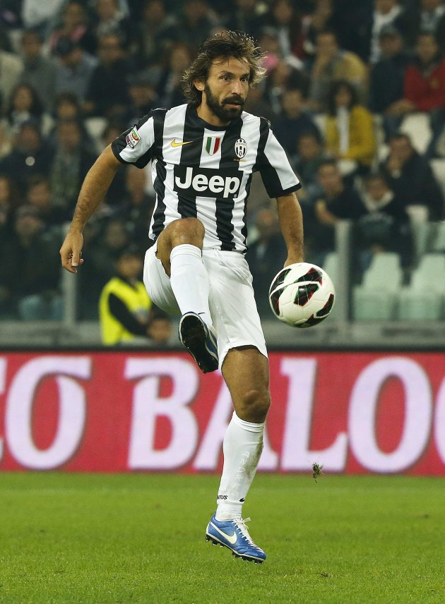 Juventus' Andrea Pirlo controls the ball during the Italian Serie A soccer match against AS Roma at the Juventus stadium in Turin