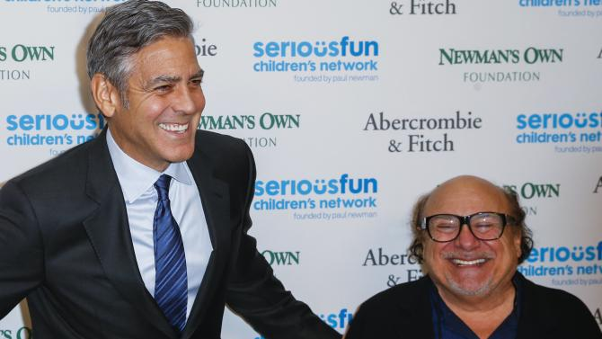 "George Clooney arrives with Danny DeVito for ""An Evening of SeriousFun Celebrating the Legacy of Paul Newman"" event in New York"