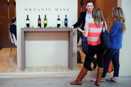 <p>Visitors listen to an exhibitor (L) presenting organic wine in March 2012 at the Vinitaly exposition in Verona. Organic wines produced in Europe will be able to be sold under a certified label this year, as the EU tightens rules on winemaking to rival organic bottles from the New World.</p>