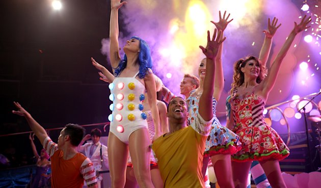 "This film image released by Paramount Pictures shows Katy Perry performing with dancers in a scene from her 3D film, ""Katy Perry: Part of Me."" (AP Photo/Paramount Pictures)"