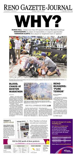 What the Newspapers Look Like After Bombs in Boston