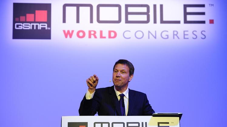 CEO of Deutsche Telekom Rene Obermann attends a conference at the Mobile World Congress, the world's largest mobile phone trade show, in Barcelona, Spain, Tuesday, Feb. 28, 2012. (AP Photo/Manu Fernandez)