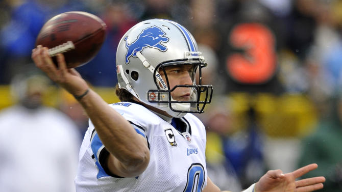Detroit Lions quarterback Matthew Stafford throws during the first half of an NFL football game against the Green Bay Packers Sunday, Jan. 1, 2012, in Green Bay, Wis. (AP Photo/Jim Prisching)