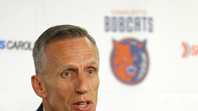 Charlotte Bobcats new head coach Mike Dunlap speaks during a news conference after being named to lead the NBA basketball team in Charlotte, N.C., Wednesday, June 20, 2012. (AP Photo/Chuck Burton)