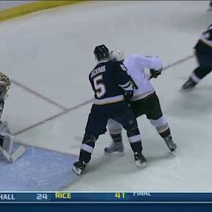Andrew Cogliano hits it off skate for goal