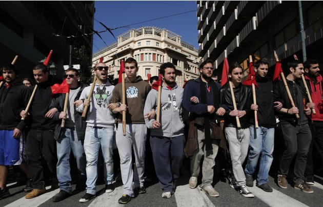 Protesters march during an anti-austerity rally in central Athens
