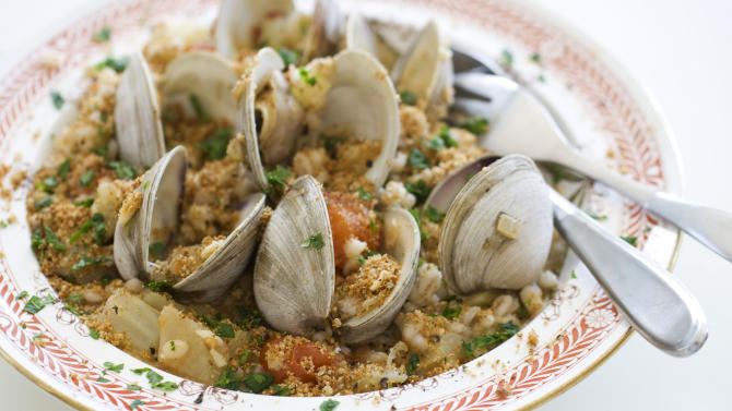 This Sept. 23, 2013 photo shows barley with clam sauce in Concord, N.H. The dish is a healthy alternative to white pasta with clams. (AP Photo/Matthew Mead)