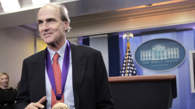 2010 National Medal of Arts recipient James Taylor speaks to members of the media in the White House briefing room of the White House in Washington, Wednesday, March 2, 2011. (AP Photo/Pablo Martinez Monsivais)