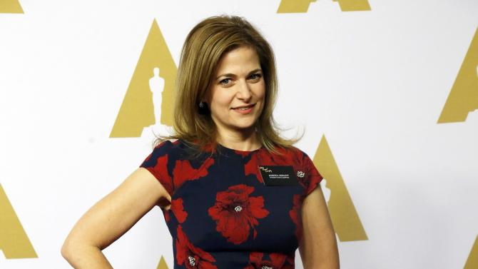 Andrea Berloff arrives at the 88th Academy Awards nominees luncheon in Beverly Hills
