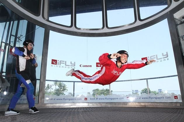 Martial arts action star Donnie Yen tried his hand at the ride at iFly Singapore on Friday morning. (Photo courtesy of iFly Singapore)
