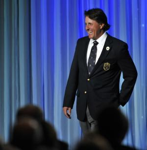 Phil Mickelson smiles during his induction into the World Golf Hall of Fame on Monday, May 7, 2012,in St. Augustine, Fla. Mickelson was inducted along with two-time major champion Sandy Lyle of Scotland, writer Dan Jenkins, British player and broadcaster Peter Alliss and LPGA player Hollis Stacy. The induction ceremony Monday night at the World Golf Village brought the Hall of Fame membership to 141. (AP Photo/The Florida Times-Union, Will Dickey)