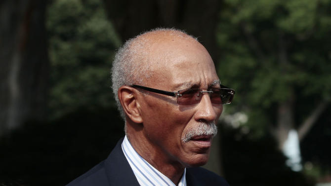 David Bing, Mayor of Detroit, Mich., following a meeting with President Barack Obama and Vice President Joe Biden, and bipartisan group of mayors to discuss the economy at the White House in Washington, Monday, June 20, 2011. (AP Photo/Pablo Martinez Monsivais)