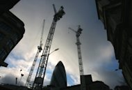 Construction cranes in central London, 2009. Britain&#39;s economy shrank by a worse-than-expected amount in the second quarter, official data showed, as recession tightened its grip on the eve of the London Olympics