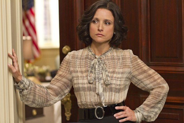 "This image released by HBO shows Julia Louis-Dreyfus portraying Vice President Selina Meyer in the HBO comedy series ""Veep."" The high drama of this political season has been echoed by episodic TV like CBS' ""The Good Wife,"" and Showtime's ""Homeland"" where character Nicholas Brody returns home after eight years' imprisonment in Afghanistan and becomes a U.S. Congressman. (AP Photo/HBO, Bill Gray)"