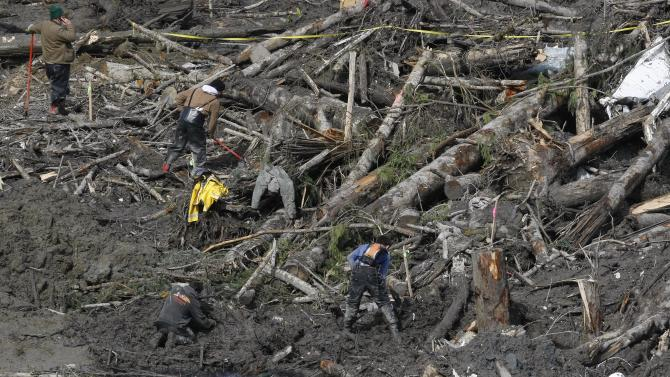 Workers and volunteers search for articles and belongings at the scene of the deadly March 22 mudslide, Monday, March 31, 2014, in Oso, Wash. The number of confirmed dead has reached 24. More than two dozen people remain missing, authorities have said. (AP Photo/The Herald, Sofia Jaramillo, Pool)