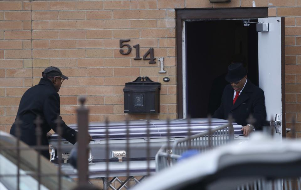 The remains of 15-year-old Hadiya Pendleton arrive at the Greater Harvest Missionary Baptist Church for funeral services Saturday, Feb. 9, 2013, in Chicago. (AP Photo/Charles Rex Arbogast)