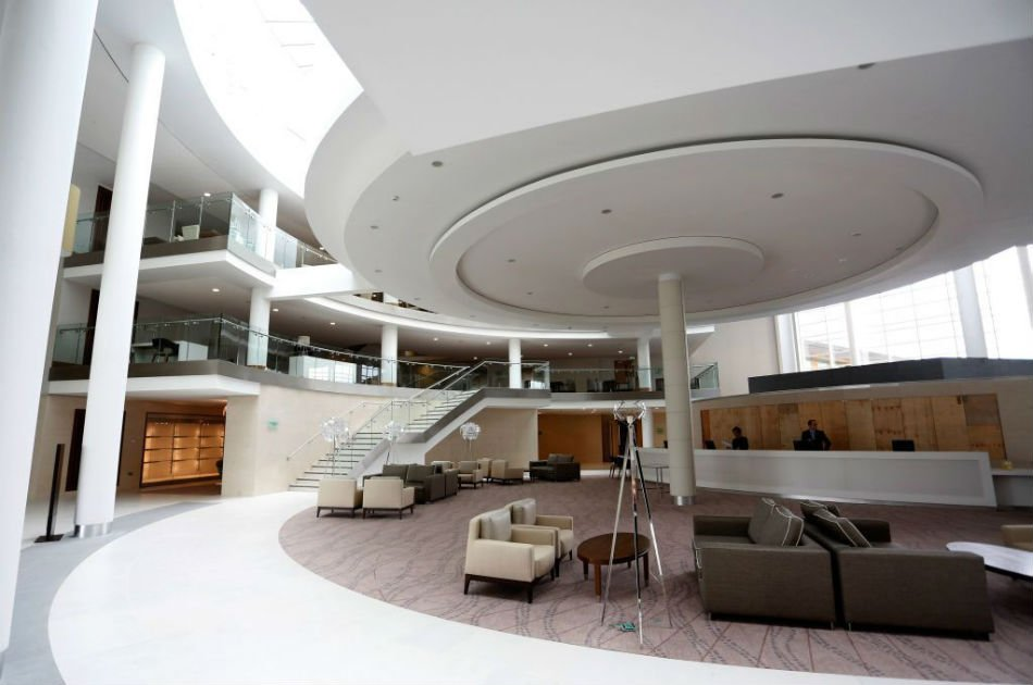 A general view of the Hilton Hotel lobby in Burton, England.