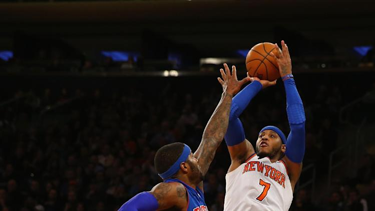 Anthony scores 34, Knicks hold off Pistons, 89-85