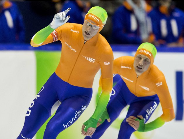Ronald Mulder of the Netherlands celebrates his victory over his brother Michel Mulder during the men's 500 meters at the Essent ISU speed skating World Cup in Heerenveen