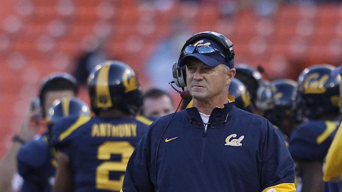 FILE - In this Sept. 3, 2011, file photo, California head coach Jeff Tedford walks the sideline during NCAA college football game against Fresno State in San Francisco. Tedford was fired on Tuesday, Nov. 20, 2012, after 11 seasons at California that began with great promise and ended with a disappointing run of mediocrity. (AP Photo/Jeff Chiu, File)