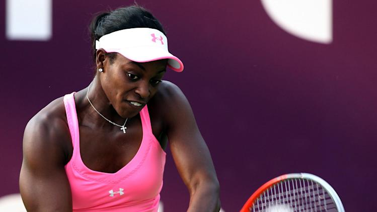 Sloane Stephens of the U.S. returns the ball during her match against Klara Zakopalova of the Czech Republic on the third day of the WTA Qatar Ladies Open in Doha, Qatar, Wednesday, Feb. 13, 2013. (AP Photo/Osama Faisal)