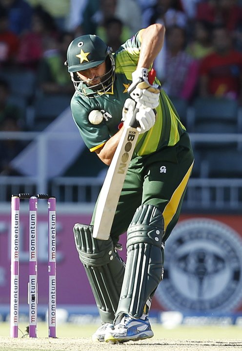 Pakistan's Shahid Afridi plays a shot during their third One Day International (ODI) cricket match against South Africa in Johannesburg